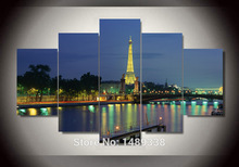 Eiffel Tower 5 Panel Modern Wall Art Home Decoration Living Room Special hot European painting pictures print on canvas jjv-473