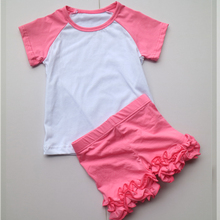 hot pink ruffle pants set ruffle shorts children shorts for girls raglan t-shirts with shorts 11colors in stock(China)