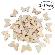50pcs Natural Cutout Shape Wooden Butterfly Wedding Favors Party Accessories Christmas DIY Burlap Wedding Decoration(China)