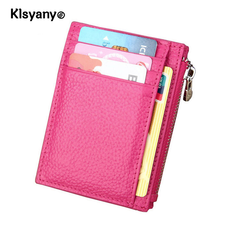 Klsyanyo Real Cow Leather RFID Blocking Men Business Card Holder Women ID Credit Cardholder Coin Pocket Wallet Organizer