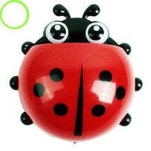 Creative Home Accessories Cartoon Ladybird Toiletries Toothpaste Holder Bathroom Sets Suction Hooks Tooth Brush Holder(China)