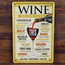 wall pictures WINE FROM Around the World Tin Signs Vintage House Cafe Restaurant Beer Poster Metal Craft ART Painting 20*30 CM(China)