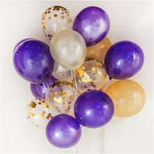 Buy 12 inches confetti balloons 50pcs /lot purple gold latex balloons holiday parties wedding room decorations balloons for $5.99 in AliExpress store
