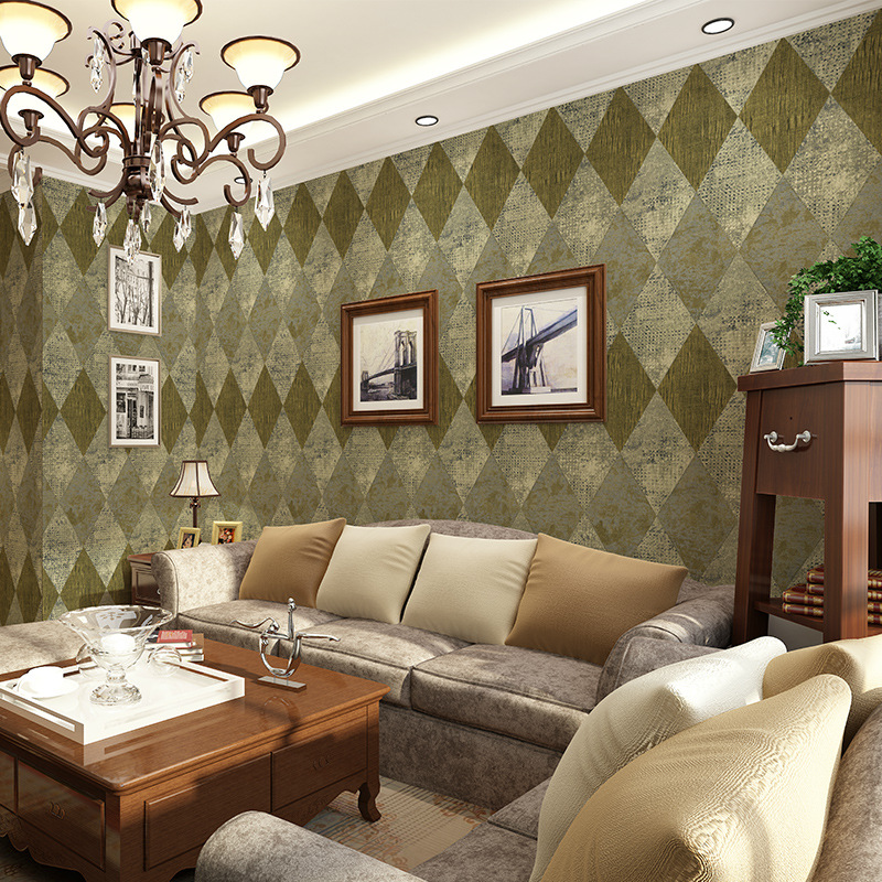 American retro non-woven wallpaper living room coffee shop hotel KTV TV background wall engineering wallpaper<br>