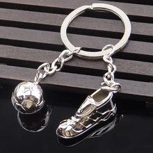 Unique Soccer Shoes Football Ball Stainless Steel Metal Keychain Key Chains Ring Gift(China)