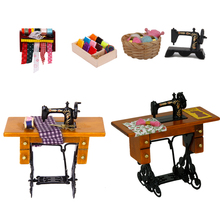 New Miniature Furniture Dollhouse Vintage Sewing Machine With Cloth New In Box 1/12 Scale Dolls Accessories Families Girls Toy