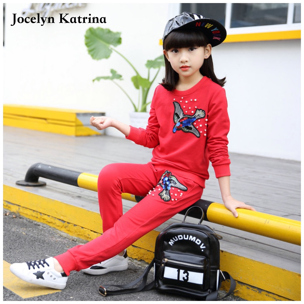 5-14T Costume for Girls Spring Kids Sport Suit Childrens Tracksuits Long Sleeve T-shirt + Pant Clothes Set Top Wear Grils<br><br>Aliexpress