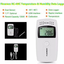 Floureon RC-4HC LCD Digital Temperature and Humidity Data Logger USB Temperature Data Recorder with External Sensor -30C~+60C