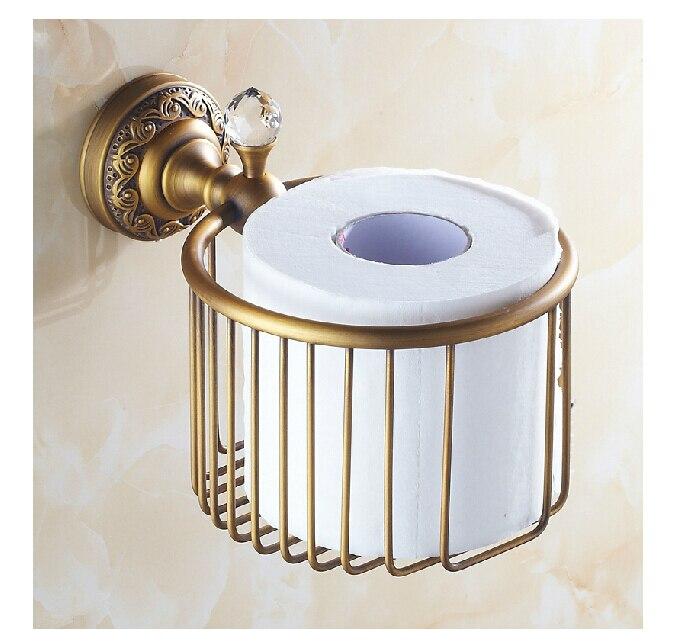 Antique Brass Toilet Paper Holder Crystal Hanger Wall Mount Flower Carved Basket<br>