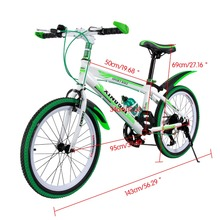 20'' 7 Speed Children Mountain Bike One-piece Wheel Aluminum MTB Double Disc Brakes Kids Bicycle Front V-brakes Rear Disc Brake(China)