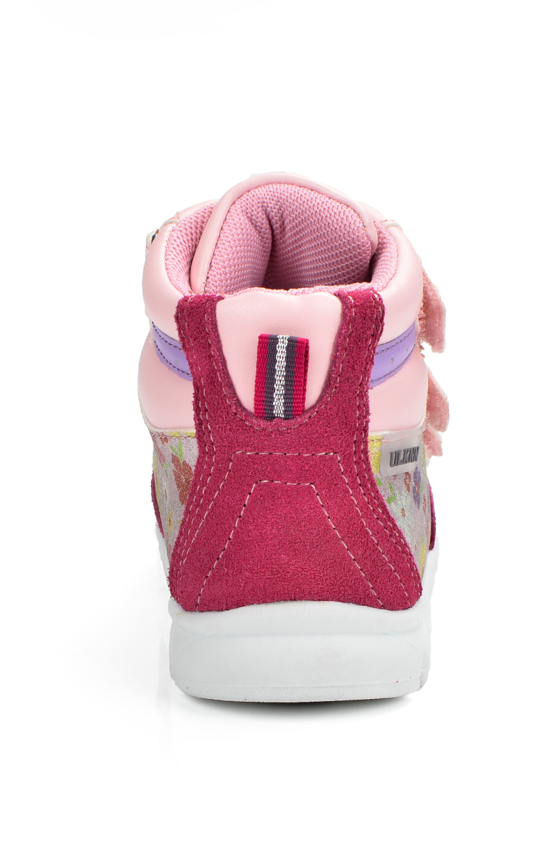 ULKNN Girls Sneakers Kids Shoes Girls Running Shoes Floral Print Breathable Genuine Leather Soft sapatos infantil Pink Size 20-25 (8)