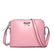 BARHEE Women Leather Handbag Fashion Girls Messenger Bags Candy Color Crossbody Shoulder Bag Shell Small bow Black Pink Beige