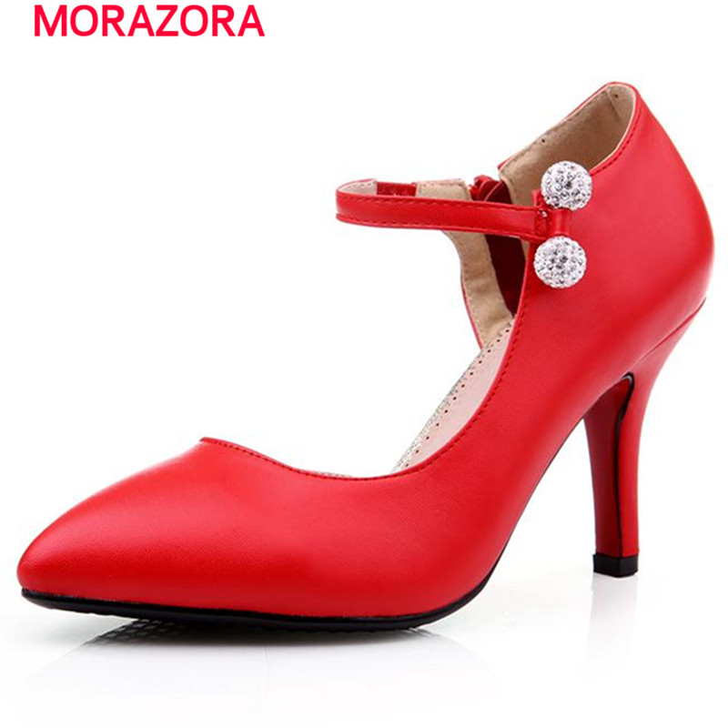 MORAZORA 2017 Spring autumn party shoes elegant fashion women pumps zipper big size 32-42 high heels shoes rhinestone <br><br>Aliexpress