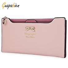 Guapabien Women Purse Long Bow Wallets Candy Color Wallet PU Thin Card Holders Purse Female Carteira Feminina Portefeuille Femme