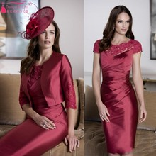Burgundy Mother Of The Bride Dresses With Cap Sleeves Sheath Knee Length Formal Dress For Wedding Mother Groom Gowns