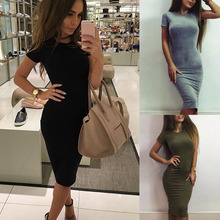 Buy 2017 New Fashion Casual Summer Autumn Women Dress Elegant Ladies Sexy Solid Color Short Sleeve Office Dresses Female Vestidos for $4.74 in AliExpress store