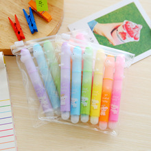 6pcs/set Cute animal printing highlighter pens 6colors Kawaii pen Office supply & Stationery(China)