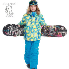 Winter Children'S Ski Suit Set For Girls Boy Kids Outdoor Windproof Warm Girls Jackets Coat Sporty Clothes Sets For 6-16T(China)