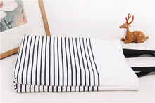 Cute Striped Cotton Canvas Handbags / Eco Daily Female Single Shoulder Shopping Bags Tote Women Beach Bags(China)
