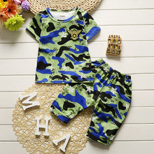 2017 Summer Baby Boys Camouflage Short Sleeved T-shirt Tops + Middle Pants 2PCS Children Clothing Tracksuit Kids Bebes Clothes