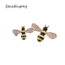 New 2017 Bijouterie Rhinestone Set Little Bee Brooches Fashion Jewelry Light gold Color Cute Unisex Brooch Pin For Clothing(China)