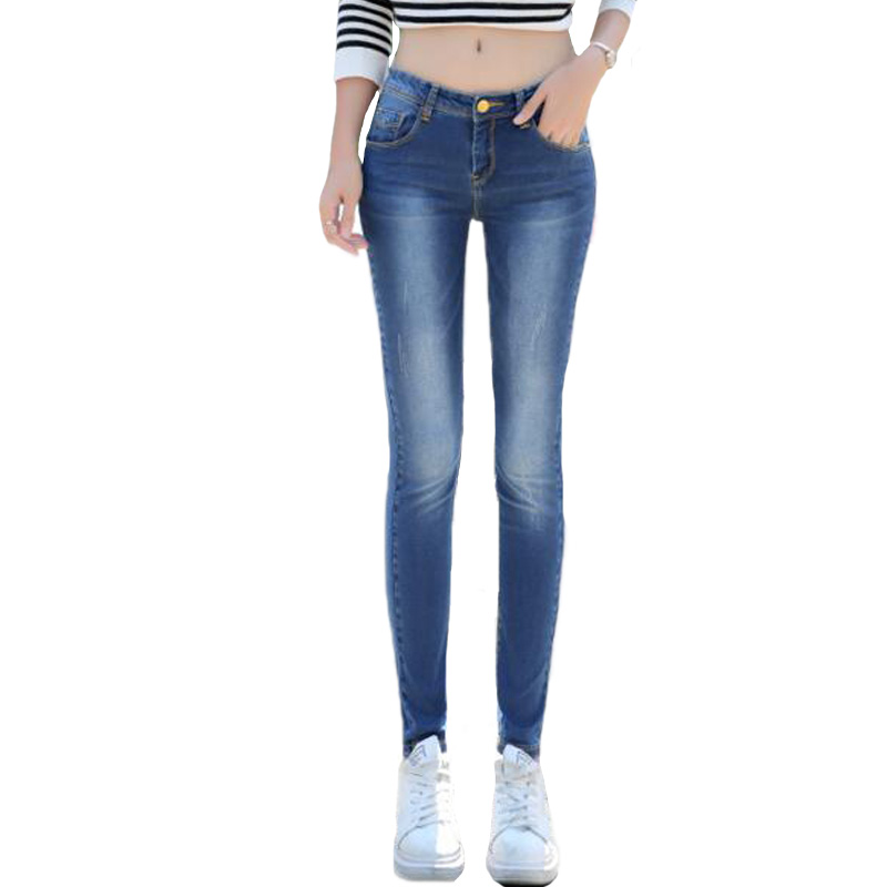 2017 New Fashion Pencil Jeans Women blue Color Mid Waist Full Length concise stretch Slim Fit Skinny Women Pants trousersОдежда и ак�е��уары<br><br><br>Aliexpress