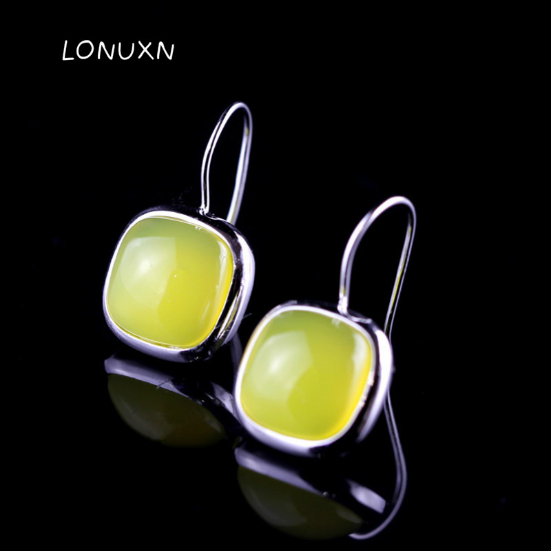 high quality 925 Sterling silver natural Natural semi-precious stones yellow chalcedony earring Vintage earrings women Jewelry