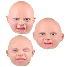 New Latex Disgusted Happy Cry Baby Costume Birthday Halloween Mask Full Head Party Masks Villain Joke Mask  Free Shipping