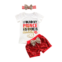 3PCS Toddler Kids Baby Girls Summer Clothes T-shirt Tops+Pants 2017 new arrival fashion Outfits Set Age 1-6T(China)