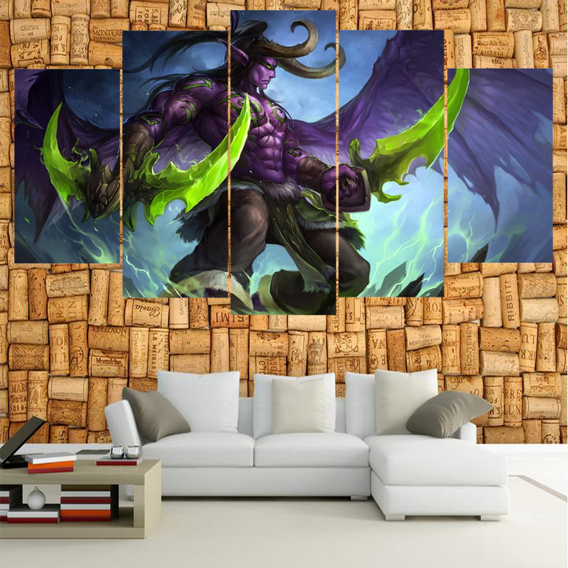 Famous Game Warcraft Figure Poster Wall Modular Picture Canvas Paintings For Living Room Bedroom Kids Room Wallpaper(China (Mainland))