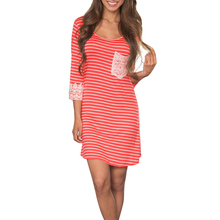 Women Sexy Pocket Lace Boho Mini Beach Striped 3/4 Sleeve O Neck Dress for Lace Fans