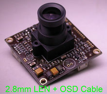 "2.8mm LEN 700TVL Sony EFFIO-A 1/3"" Sony Super HAD CCD ICX810,811 sensor CXD4151 CCTV camera module board with OSD cable(China)"