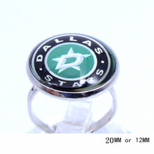Dallas Stars Team Ring Ice Hockey Charms NHL Sport Jewlery Round Glass Dome Silver Plated  Ring For Women Girl Adjustable