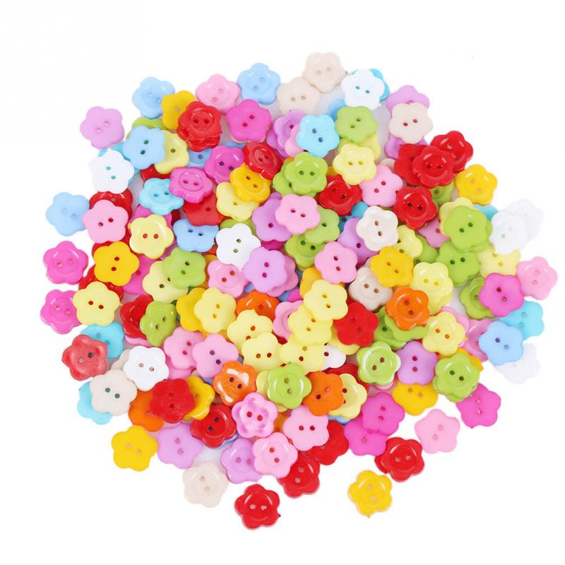 200pcs 2016 Cute Plastic Resin Buttons Mixed Color Flower Sewing Children Button 2 Holes(China)