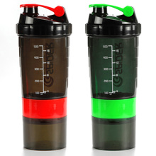 500ml Multifunction Protein Shaker Sport Plastic Water Bottle 3 Layers Protein Blender Mixer Keep Fitness Drinking Bottles(China)