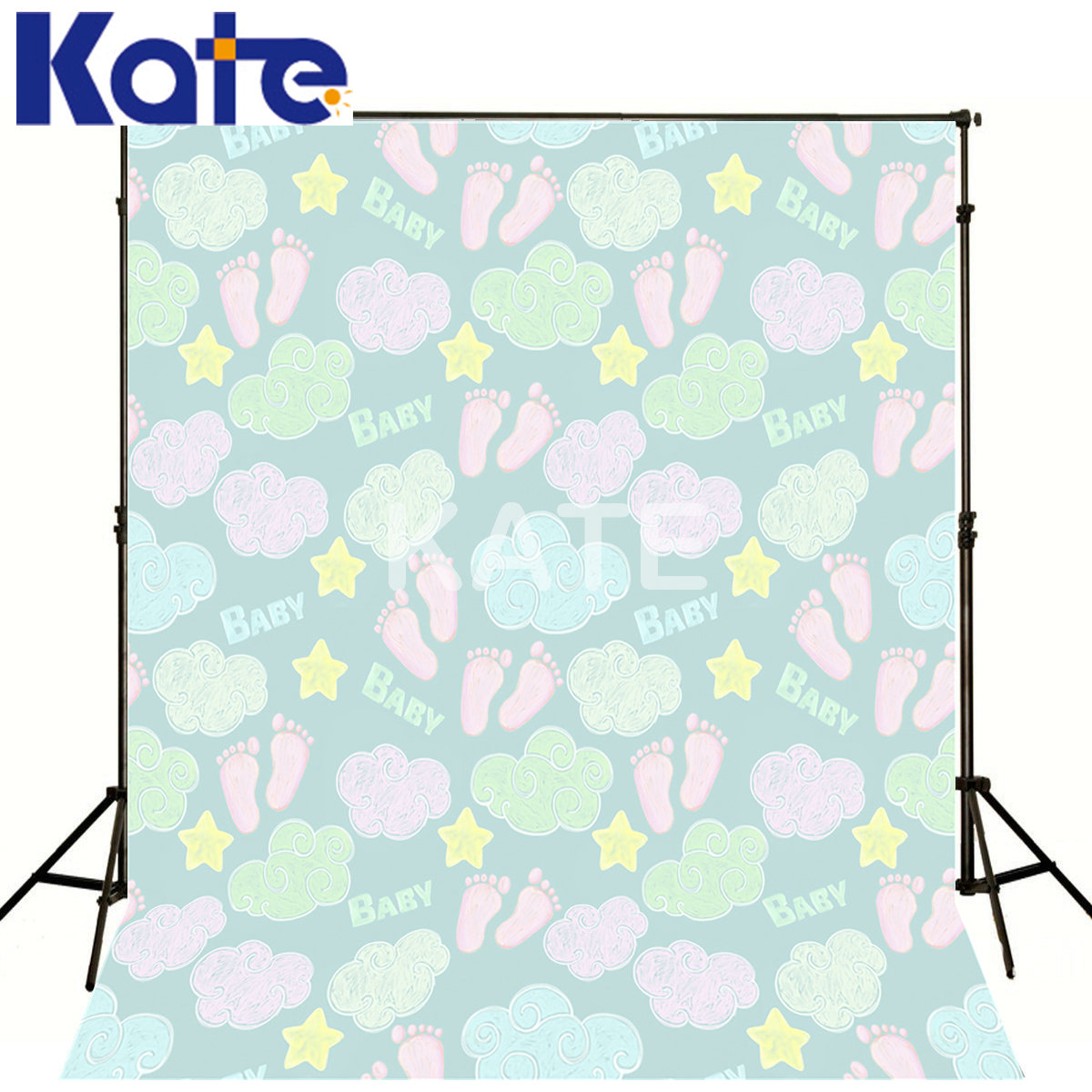 Kate Digital Printing Fond Thick Clothe Cartoon Jigsaw Clouds Five-Pointed Star For New Baby Kate Scenic Photography Backdrops<br>