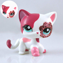 Healthy Material  LPS Lovely Sparkle Eyes White Red Cat Short Hair  Blue Eye Kitten