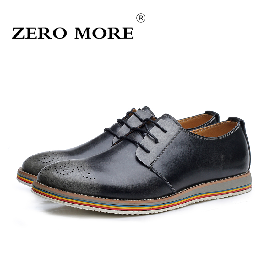 ZERO MORE British Style Split Leather Men Casual Shoes Brogue Oxford Shoes For Men Oxfords New 2017 Male Work Zapatos Hombre<br>