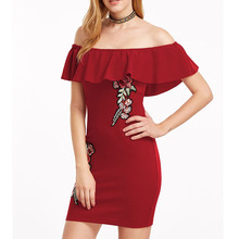 Europe And America Sexy Embroidery Flower Ruffles Off The Shoulder Club Dresses For Women KLY1856(China)