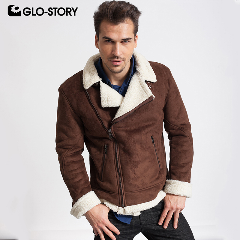 GLO-STORY 2018 Winter Fleece Warm Lined Mens Leather Jackets Men Fitness Motor Biker Jacket Coat  MPY-4328