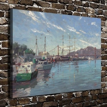 H1031 Thomas Kinkade Fisherman Wharf Marina, HD Canvas Print Home decoration Living Room Bedroom Wall pictures Art painting(China)