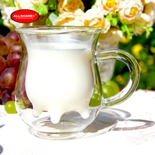 Free shipping heat resistant double wall glass creative mug milk glass  dairy cow milk glass coffee mug 250ml