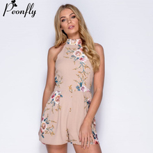 Buy PEONFLY Floral Print Halter Summer Playsuit Sexy O-neck Sleeveless Short Rompers Jumpsuit Women Slim Waist Beach Party Overalls
