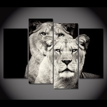 HD Printed 4pcs Black and white lion Painting on canvas room decoration print poster picture canvas unframed