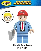Super Heroes Funny Donald John Trump With Two Color Hat Groot Baby Bricks Model Building Blocks Eduation Toys for children KF191(China)