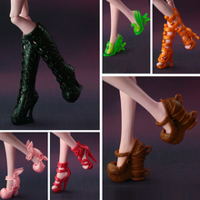 2016 New Fashion Shoes For Monster High Doll CUte long boots Doll accessories 15 style available(China)