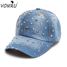 VONRU Brand New Denim Hats Fashion Leisure Woman Cap with Stars Rhinestones Vintage Jean Cotton Baseball Caps for Men Hot Sale(China)