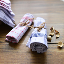 Kitchen Towels Brief Blue and Red Plaid Cotton Cloth Placemat Tea Towels Insulation Pads Western meal Napkins Home Party