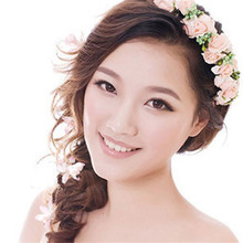 Korean Style Type Bridal Wreath Holder Hoop Bride Ornament artificial flowers hair fascinator for weddings headband 2017 Vicky