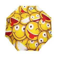 2017 Cute Emoji Folding Umbrella 8 Ribs Rain Umbrella Windproof Automatic and Non-automatic Umbrellas for Children(China)